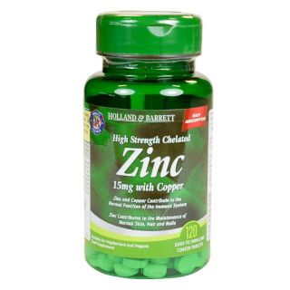 Holland & Barrett High Strength Chelated Zinc 15mg with Copper - 120 Tablets